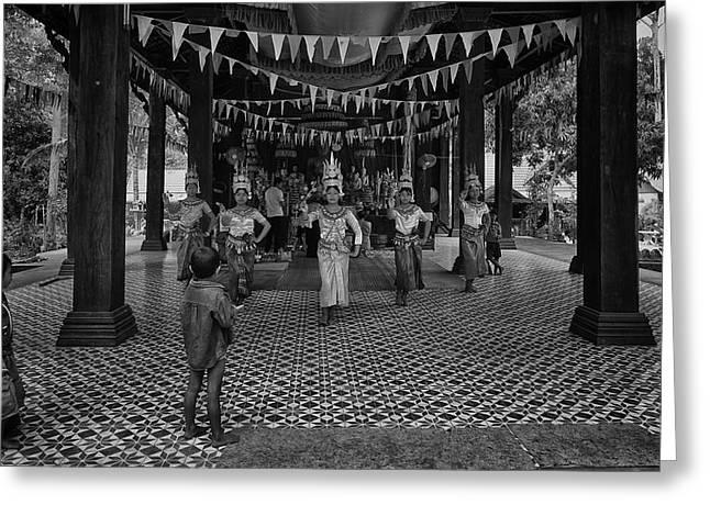 Cambodian Apsara Dancers Greeting Card by David Longstreath