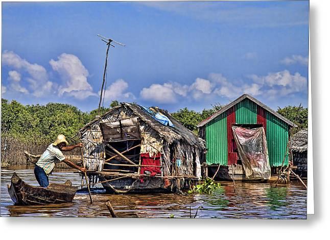 Cambodian Fishing Scene Greeting Card