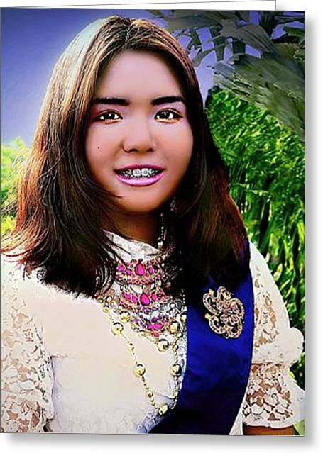 Cambodian Girl In National Dress Greeting Card by Ian Gledhill