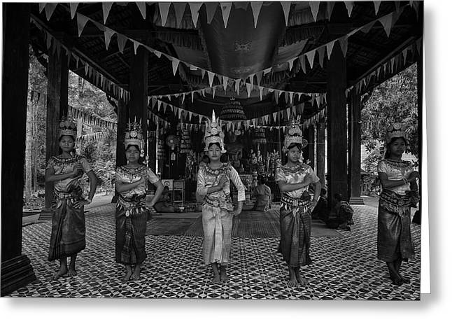 Cambodian Temple Dancers Greeting Card by David Longstreath