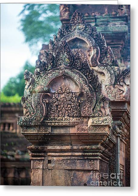 Cambodian Temple Details Banteay Srey Greeting Card by Mike Reid