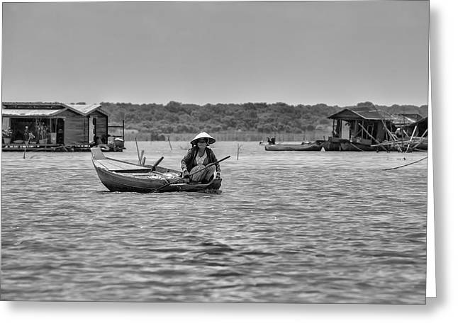 Cambodian Woman In A Boat Greeting Card