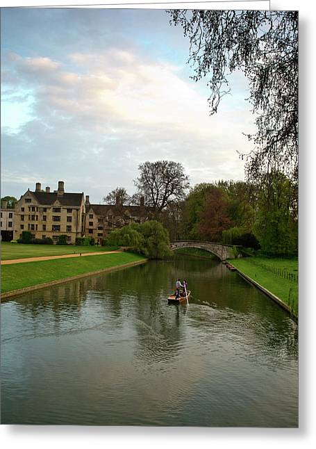 Cambridge Clare College Stream Boat And Boys Greeting Card by Douglas Barnett