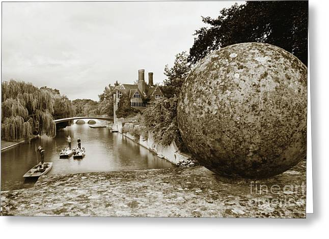 Greeting Card featuring the photograph Cambridge Punting Sepia by Eden Baed