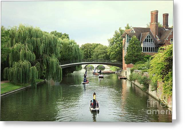 Cambridge River Punting Greeting Card by Eden Baed