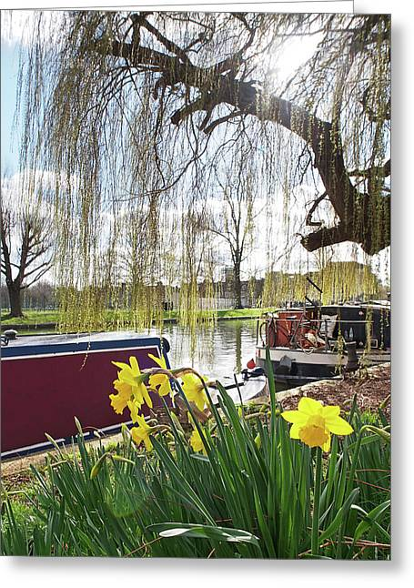 Greeting Card featuring the photograph Cambridge Riverbank In Spring by Gill Billington