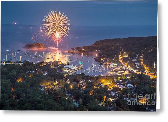 Camden Fireworks From Mount Battie Greeting Card