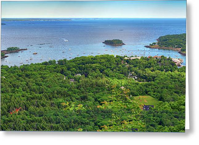 Camden Harbor From The Summit Of Mount Battie Greeting Card