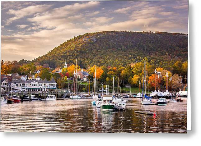 Camden Harbor In The Fall Greeting Card by Benjamin Williamson