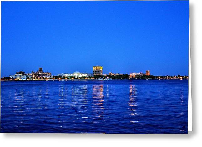 Camden Night Skyline Greeting Card by Andrew Dinh