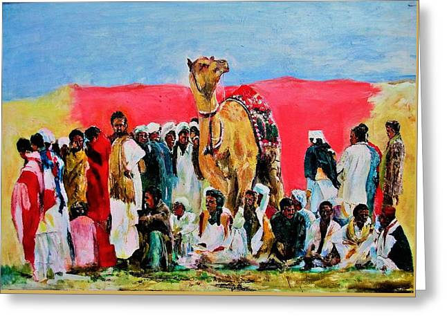 Camel Festival Greeting Card by Khalid Saeed