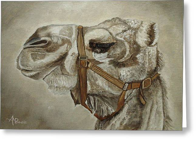 Greeting Card featuring the painting Camel Portrait by Angeles M Pomata