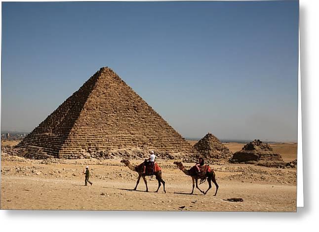 Camel Ride At The Pyramids Greeting Card