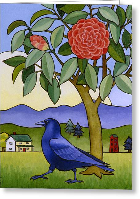 Camellia And Crow Greeting Card