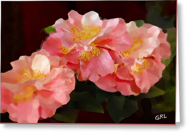 Camellias 1cmods1b Digital Painting Gulf Coast Florida Greeting Card