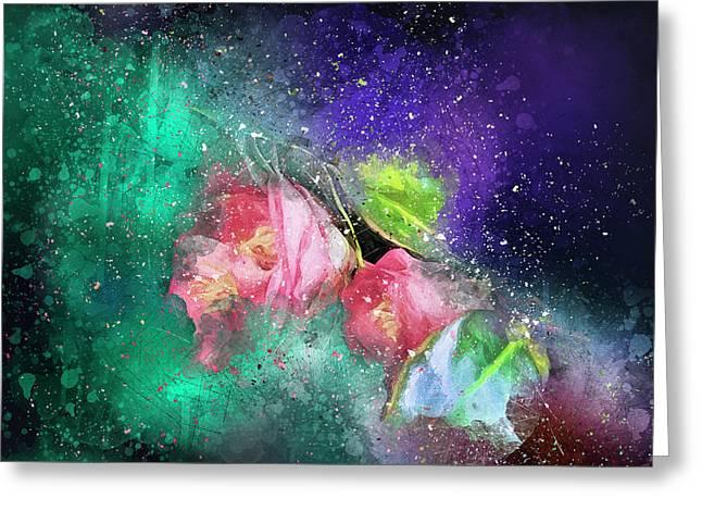 Camellias In A Galaxy Far Far Away Greeting Card