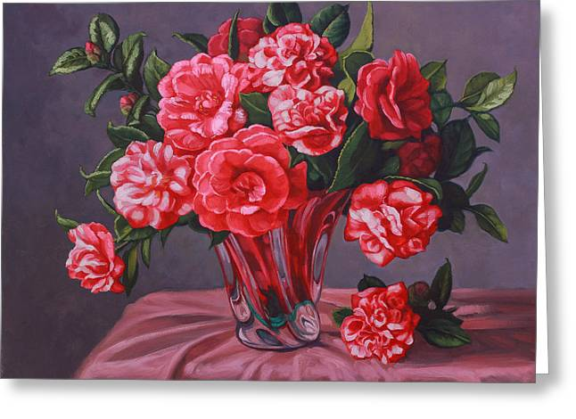 Camellias In Glass Vase Greeting Card
