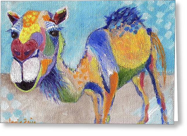 Greeting Card featuring the painting Camelorful by Jamie Frier