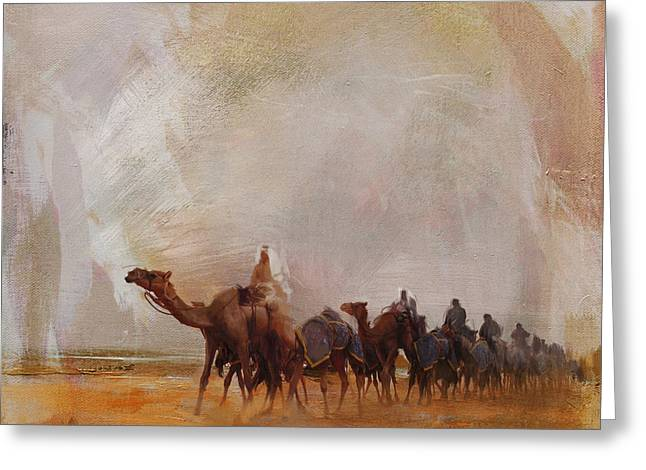 Camels And Desert 15 Greeting Card by Mahnoor Shah