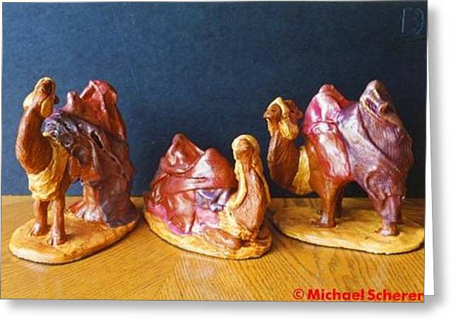 Ceramics Greeting Cards - Camels of the Nativity Greeting Card by Michael Scherer