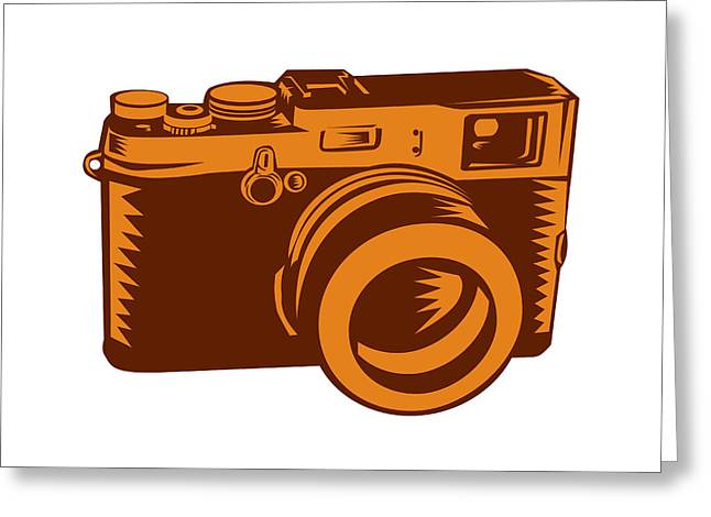 Camera 35mm Vintage Woodcut Greeting Card