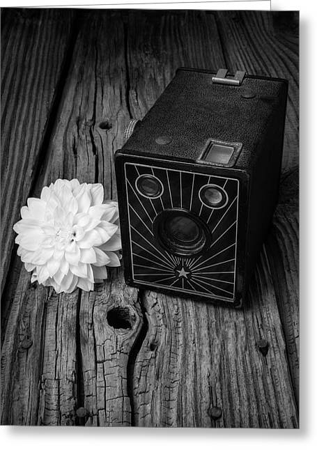 Camera And Dahila Greeting Card by Garry Gay