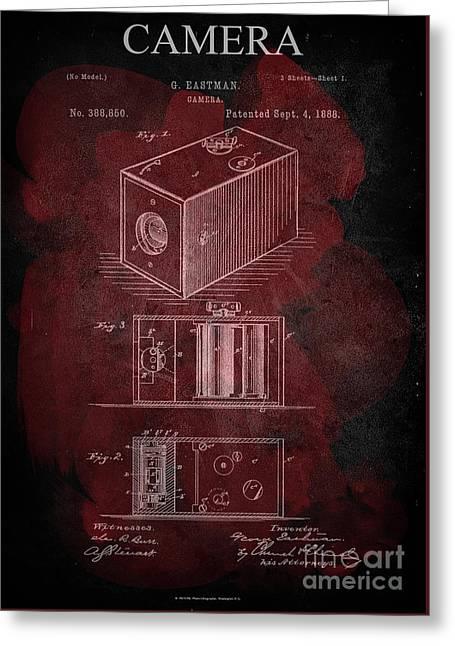 Camera - G.eastman Kodak. Patent 1888  -part 1  -red. Greeting Card