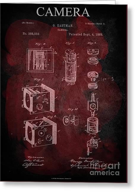 Camera - G.eastman Kodak. Patent 1888  -part 2  -red. Greeting Card