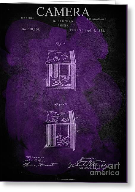 Camera - G.eastman Kodak. Patent 1888  -part 3  -purple. Greeting Card