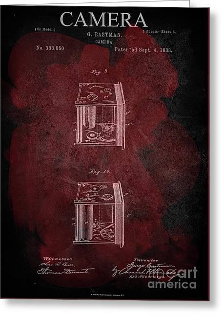 Camera - G.eastman Kodak. Patent 1888  -part 3  -red. Greeting Card