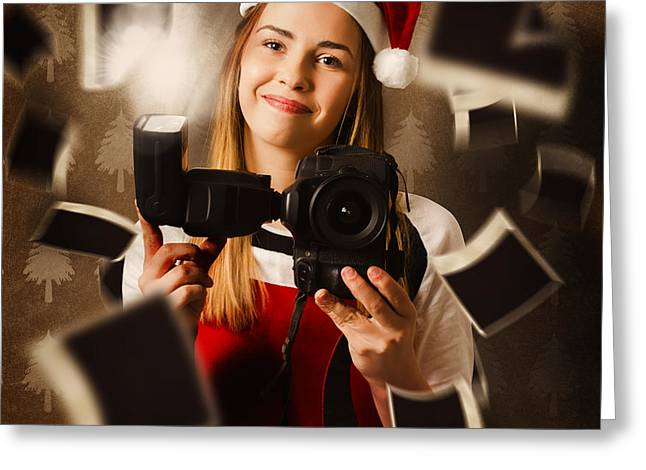 Camera Holding Santa Helper Taking Christmas Photo Greeting Card by Jorgo Photography - Wall Art Gallery
