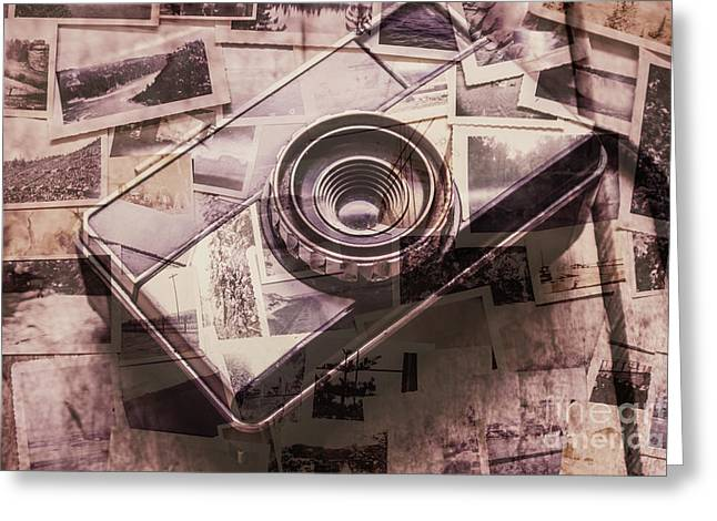 Camera Of A Vintage Double Exposure Greeting Card
