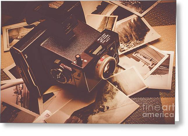 Cameras And Scattered Photos Greeting Card