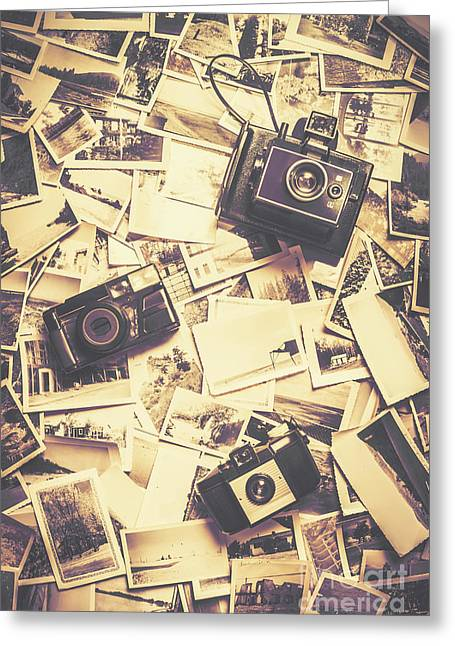 Cameras On A Visual Storyboard Greeting Card by Jorgo Photography - Wall Art Gallery