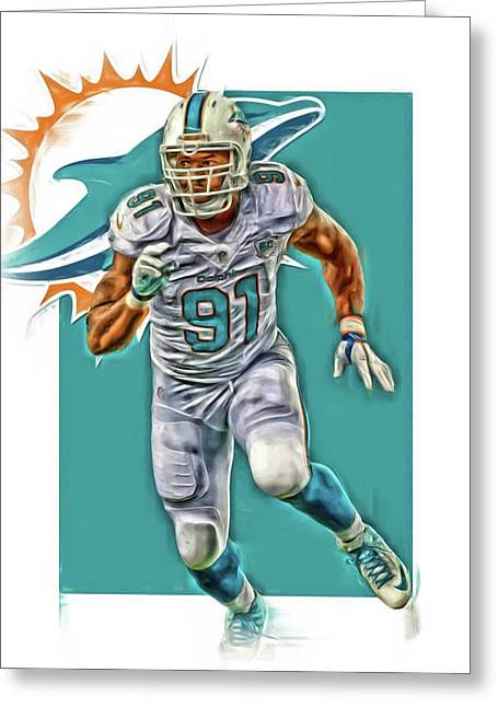 Cameron Wake Miami Dolphins Oil Art Greeting Card