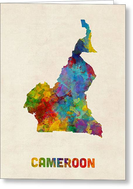 Cameroon Watercolor Map Greeting Card by Michael Tompsett