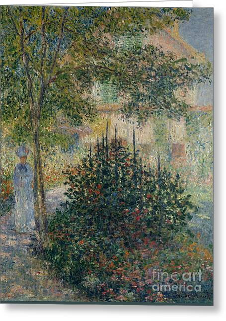 Camille Monet In The Garden At Argenteuil, 1876 Greeting Card by Claude Monet