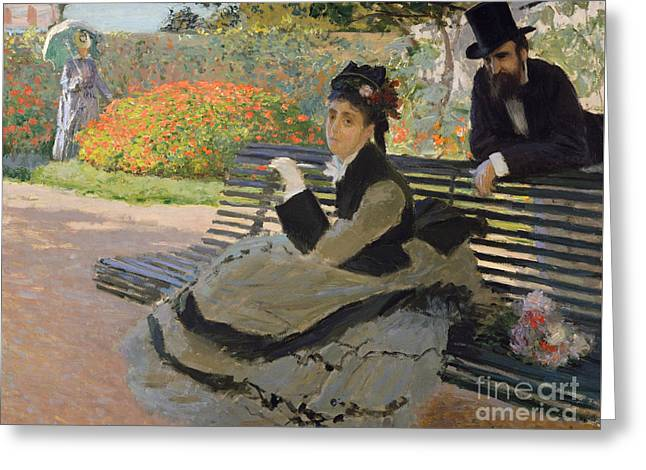 Camille Monet On A Garden Bench, 1873 Greeting Card by Claude Monet
