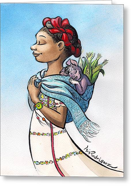 Tarjetas Greeting Cards - Camino al Mercado Greeting Card by Isis Rodriguez