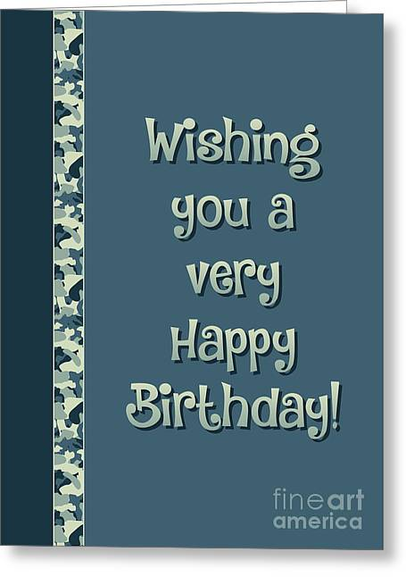 Camo Very Happy Birthday Greeting Card