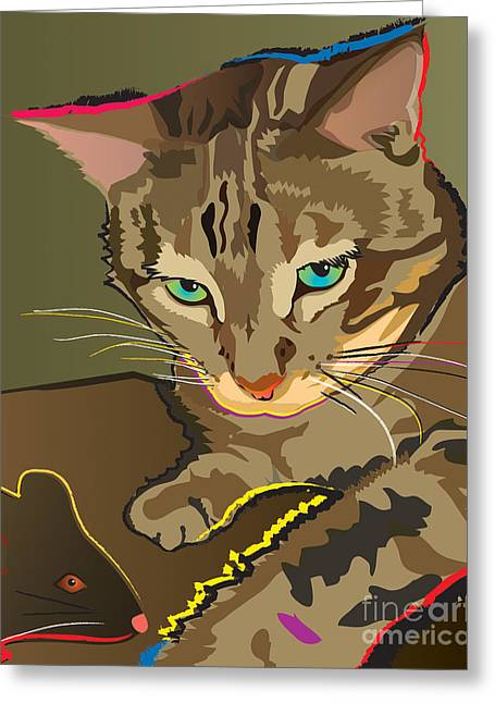 Camouflage Bengal Cat Greeting Card
