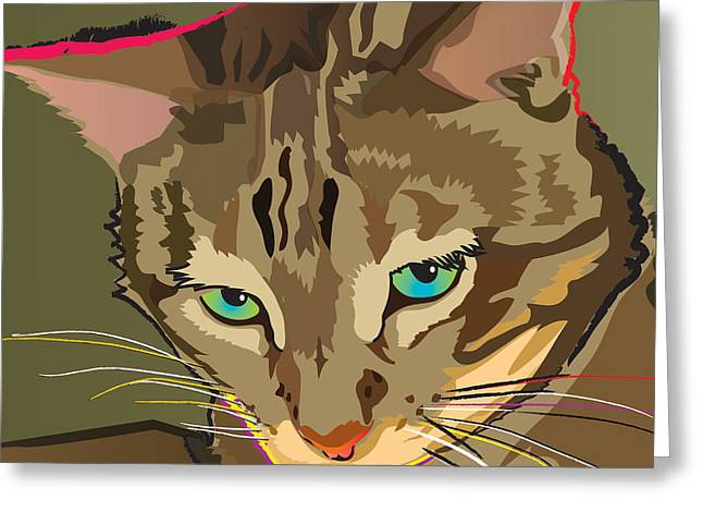 Camouflage Bengal Cat Square Greeting Card