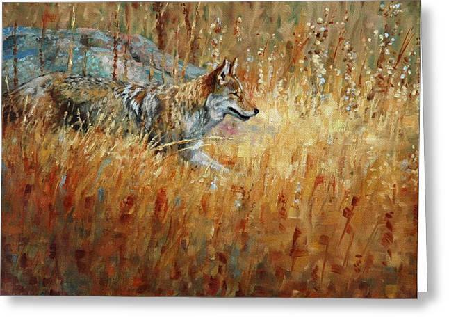 Coyote Greeting Cards - Camouflage Greeting Card by Jim Clements
