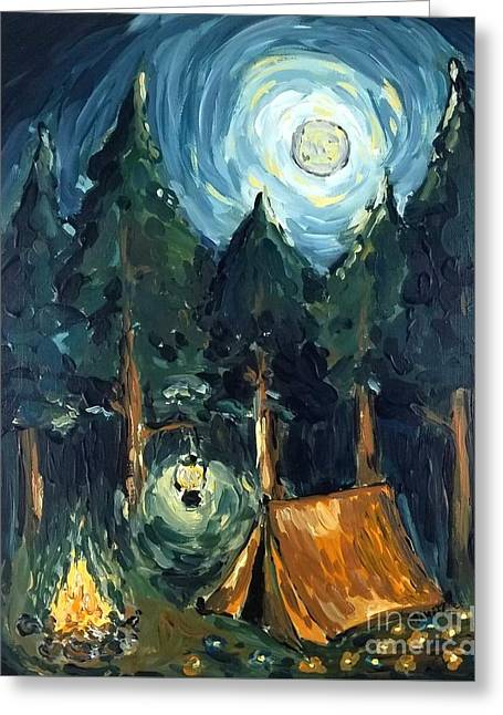Greeting Card featuring the painting Camp At Night by Maria Langgle