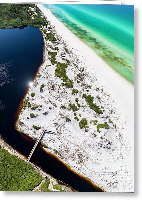 Camp Creek Lake On The Gulf Aerial Greeting Card