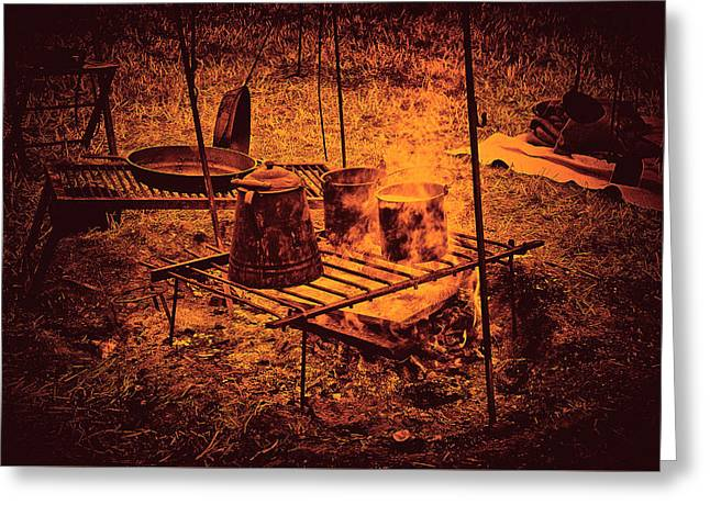 Camp Fire - Stove Greeting Card by Paul W Faust - Impressions of Light