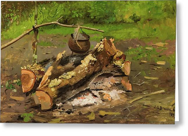 Camp In Vermont Greeting Card by John George Brown