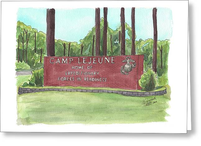 Greeting Card featuring the painting Camp Lejeune Welcome by Betsy Hackett