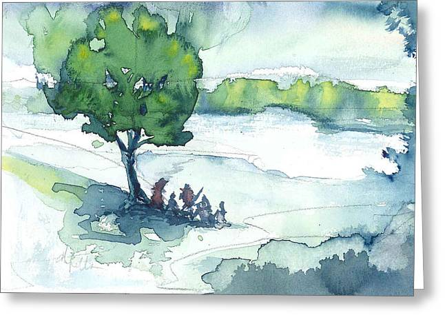 Camp On The Lake Greeting Card by Don  Vella