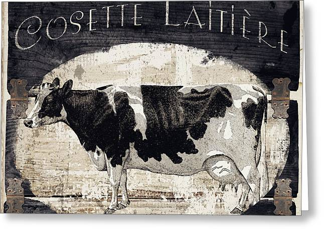 Campagne I French Cow Farm Greeting Card by Mindy Sommers